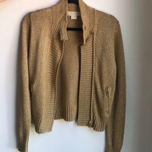 Michael Kors Gold Zip Up Sweater Jacket